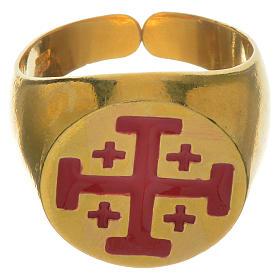 Anello vescovile argento 800 dorato croce Jerusalem s1