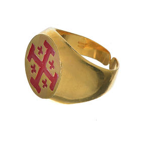 Anello vescovile argento 800 dorato croce Jerusalem s2