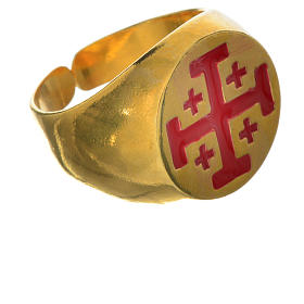 Anello vescovile argento 800 dorato croce Jerusalem s3