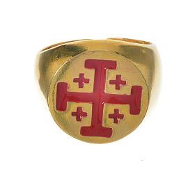 Anello vescovile argento 800 dorato croce Jerusalem s5