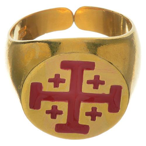 Anello vescovile argento 800 dorato croce Jerusalem 1