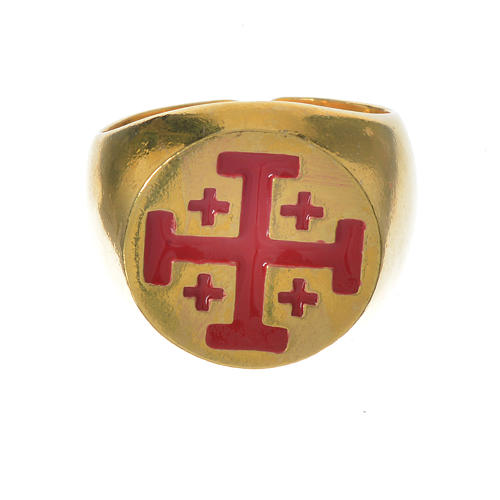 Anello vescovile argento 800 dorato croce Jerusalem 5