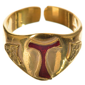Bishop's ring, golden 925 silver with enamelled Tau s1