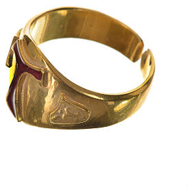 Bishop's ring, golden 925 silver with enamelled Tau s3