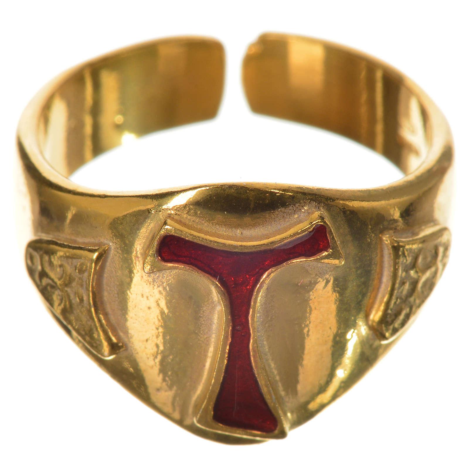 Anillo episcopal en plata 925 dorada con tau esmaltada 3