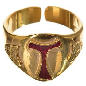 Anillo episcopal en plata 925 dorada con tau esmaltada s1