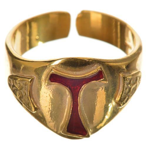 Anillo episcopal en plata 925 dorada con tau esmaltada 1
