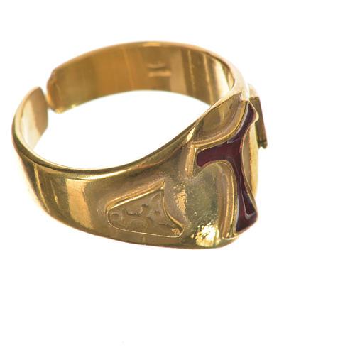 Anillo episcopal en plata 925 dorada con tau esmaltada 2