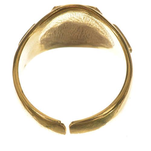 Anillo episcopal en plata 925 dorada con tau esmaltada 4