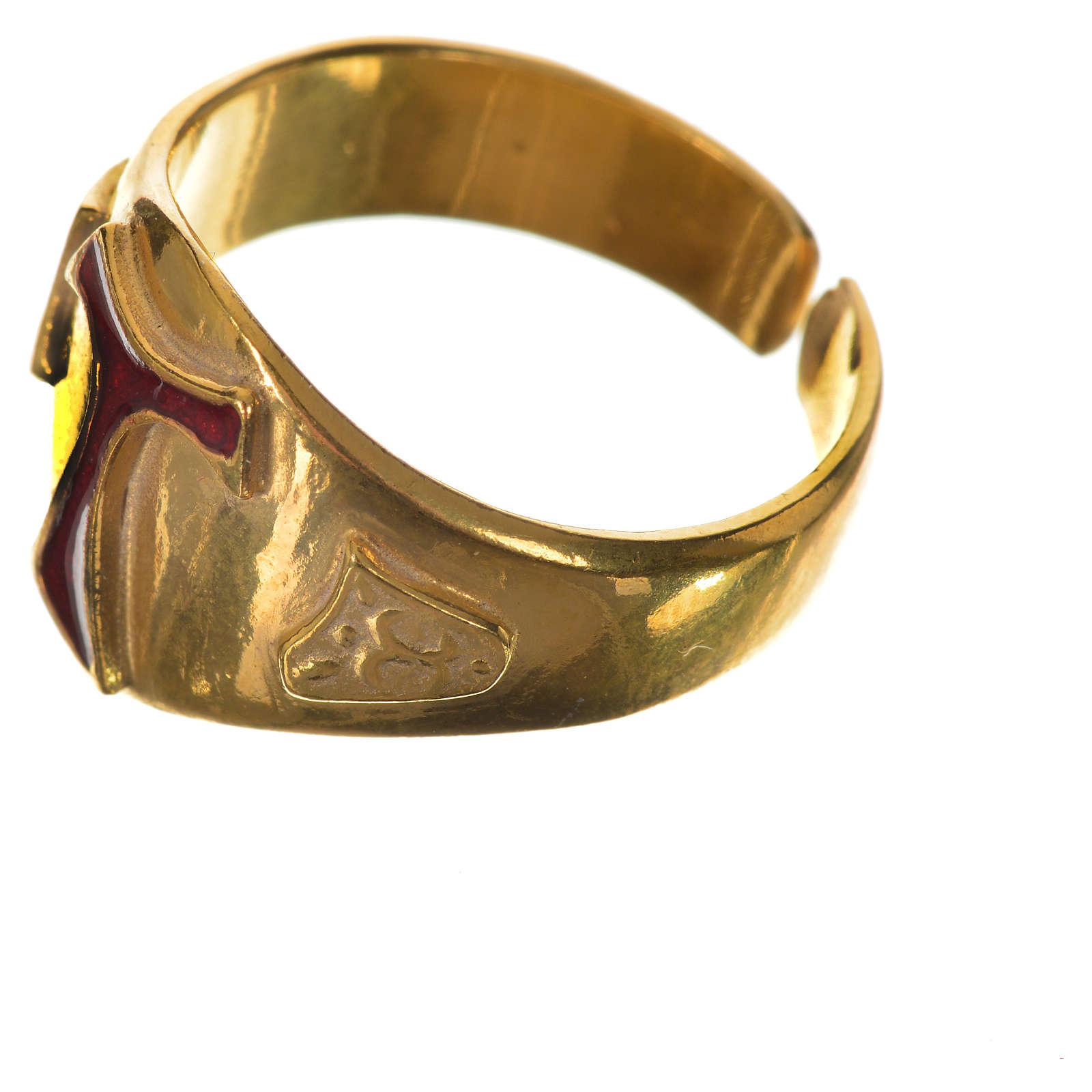 Bague pour évêque argent 925 doré tau émaillé 3