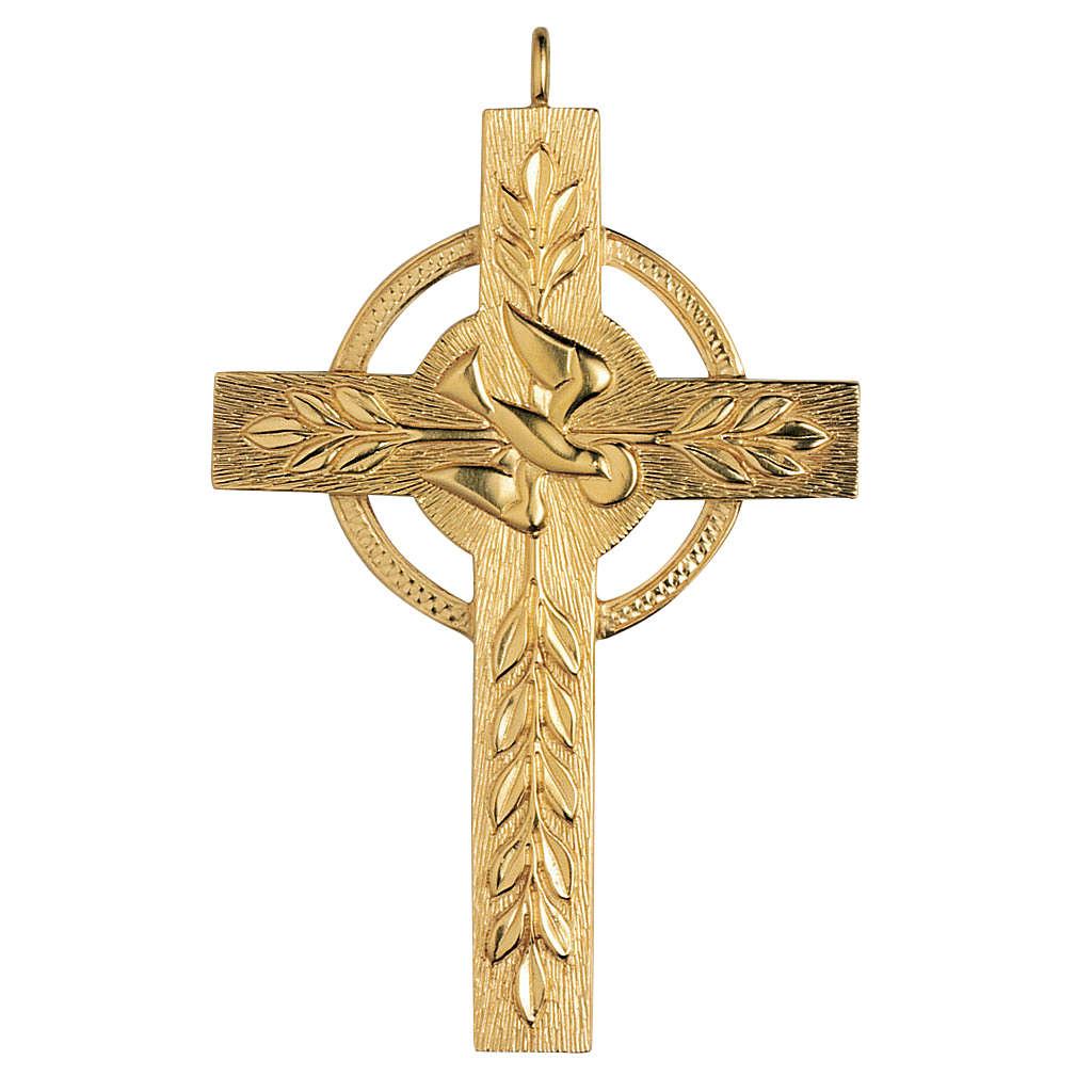 Croce pettorale Molina argento 925 dorato colomba spighe 3