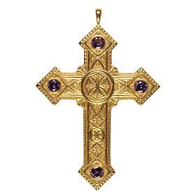 Croce per vescovi Molina argento 925 dorato s1