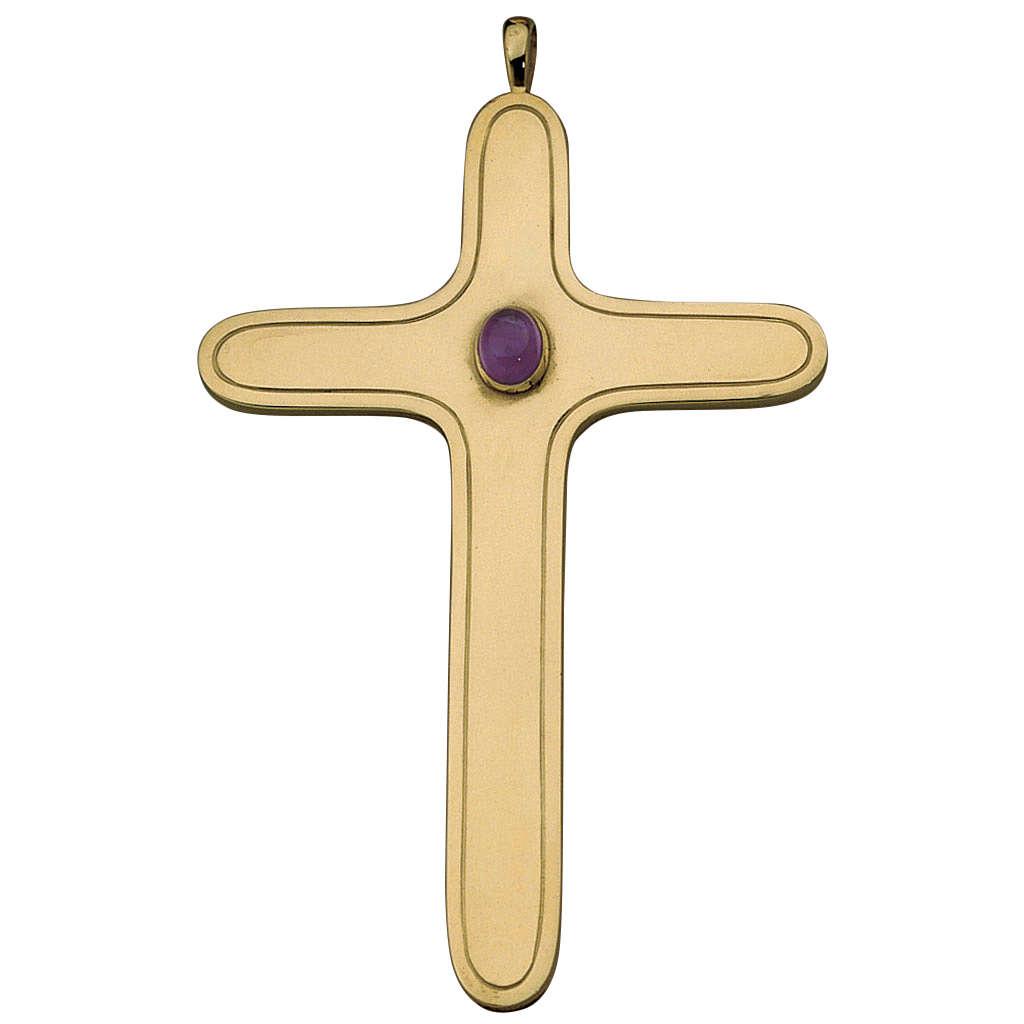 Croix pectorale arrondie Molina argent 925 doré 3