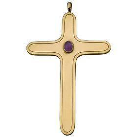 Croix pectorale arrondie Molina argent 925 doré s1