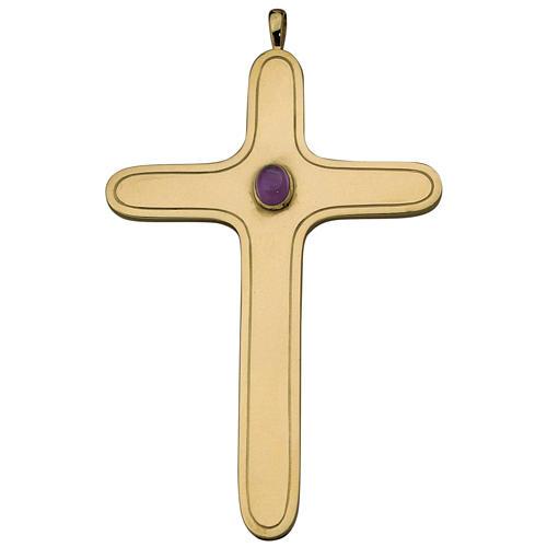 Croix pectorale arrondie Molina argent 925 doré 1