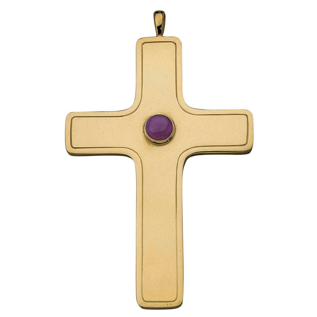 Croix pectorale simple Molina argent 925 doré 3