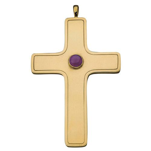Croix pectorale simple Molina argent 925 doré 1