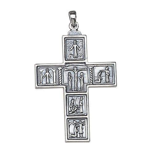 Croix romaine décorée pendentif pour évêque 5x3,5 Molina argent 1