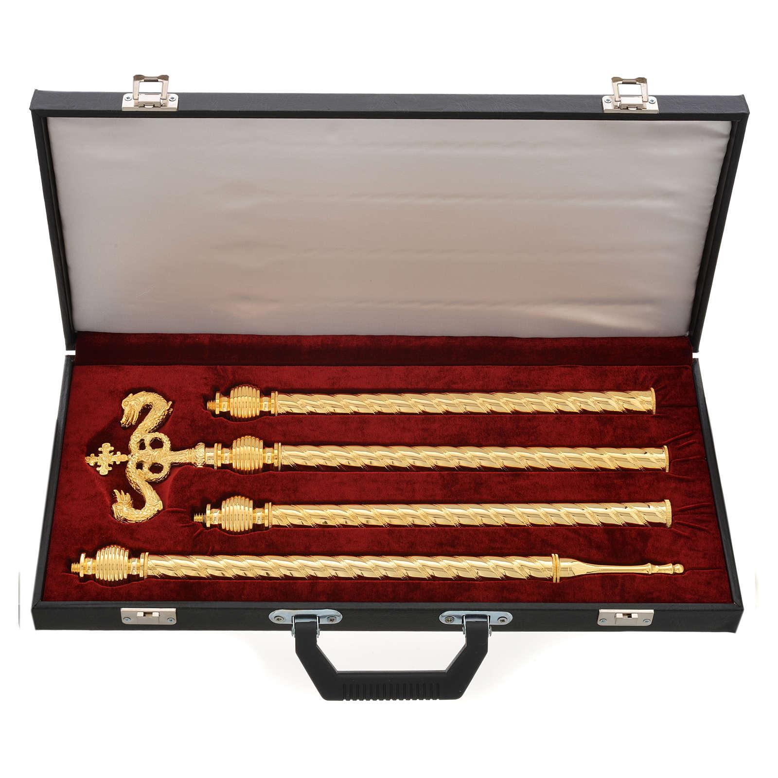Pastorale in ottone dorato con valigia 3