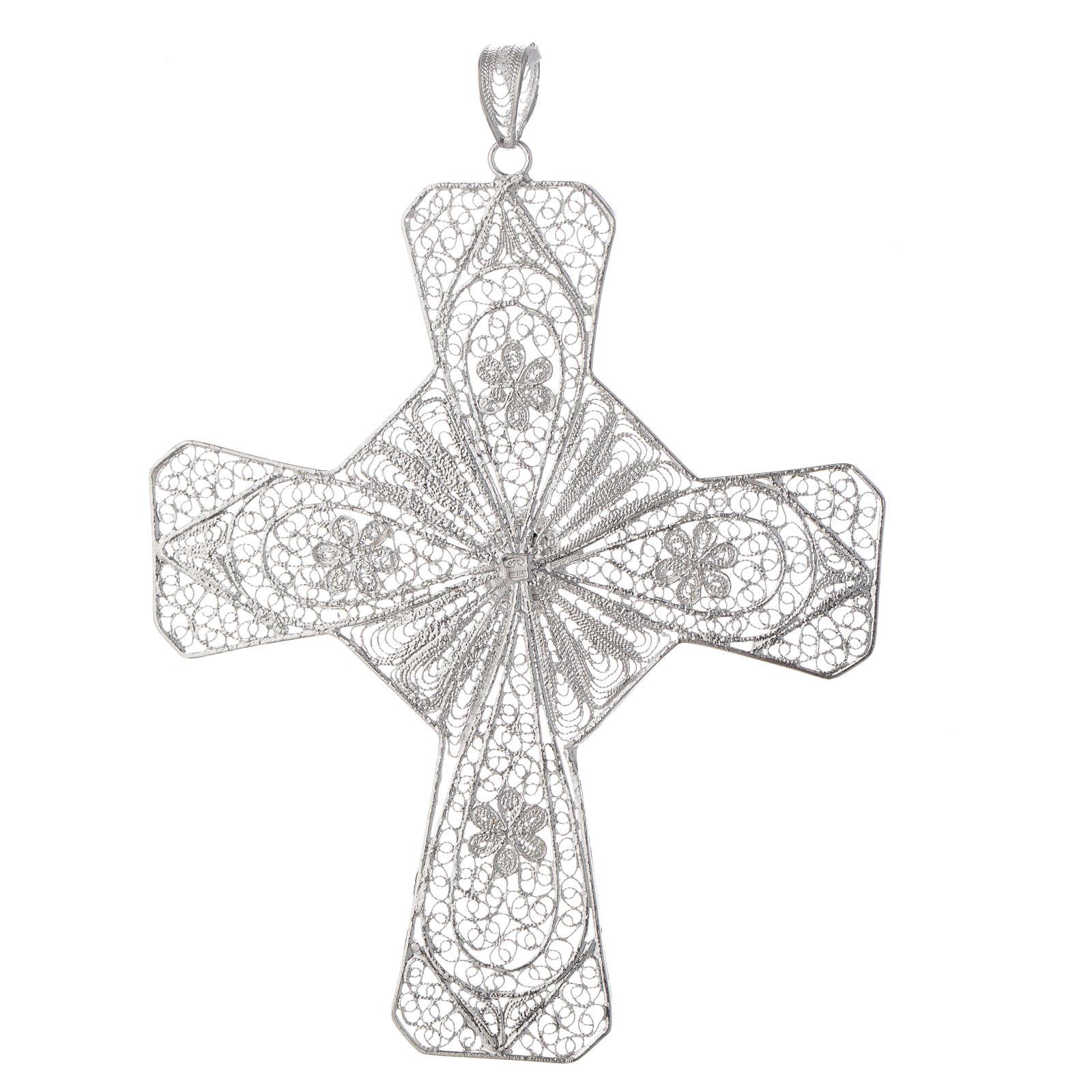 Krzyż biskupi srebro 800 filigran karneol kolor koralowy 3