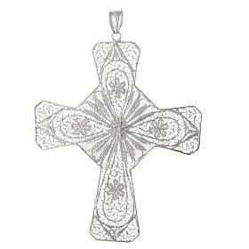Cruz episcopal prata 800 filigrana cornalina cor coral s2