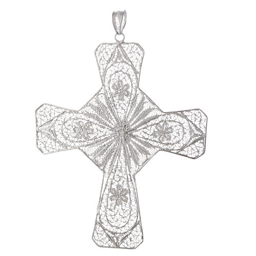 Cruz episcopal prata 800 filigrana cornalina cor coral 2