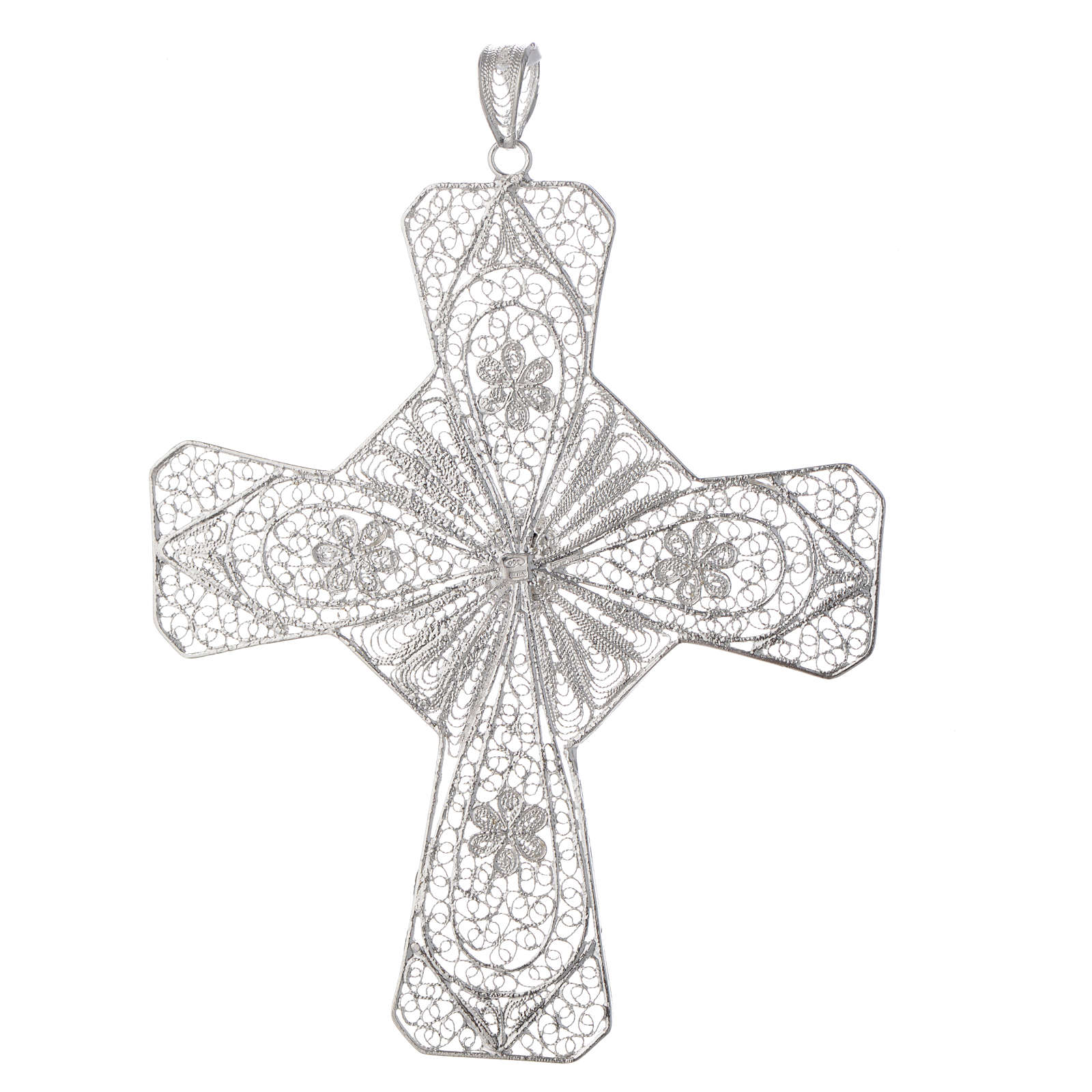 Pectoral cross silver 800 filigree, coral carnelian stone 3