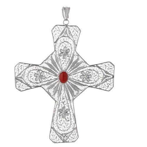 Pectoral cross silver 800 filigree, coral carnelian stone 1