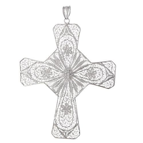 Pectoral cross silver 800 filigree, coral carnelian stone 2