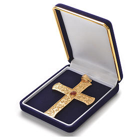 Croce pettorale argento 925 tralci d'uva pietra rossa s3