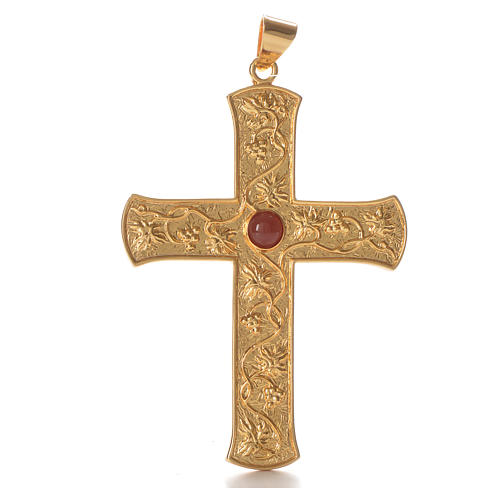 Croce pettorale argento 925 tralci d'uva pietra rossa 1