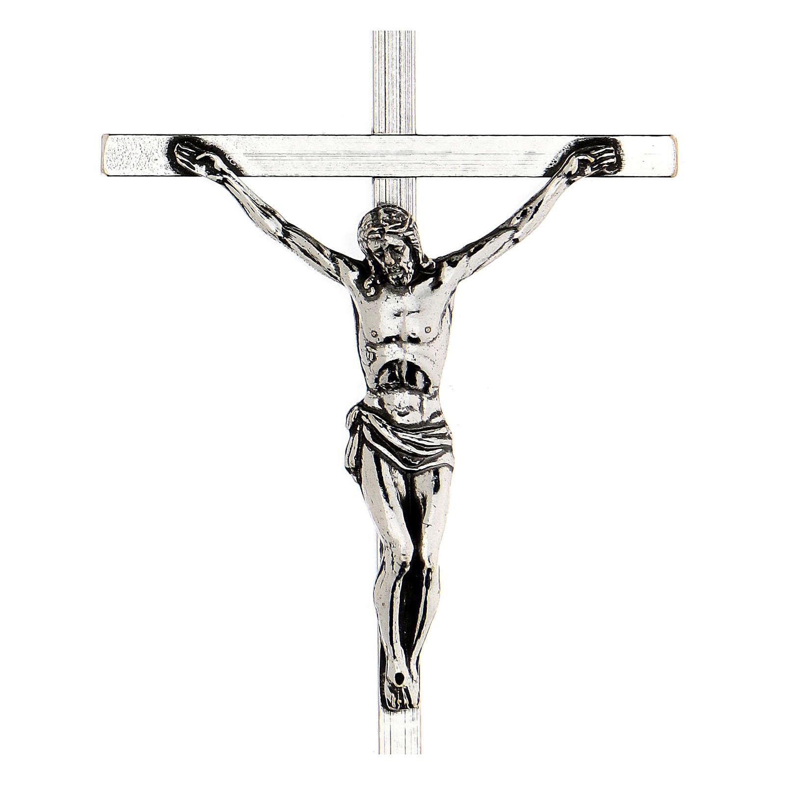 Croce pettorale argentata crocifisso 10x6,5 cm 3
