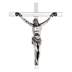Croce pettorale argentata crocifisso 10x6,5 cm s2