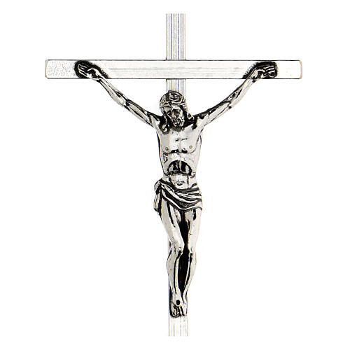 Croce pettorale argentata crocifisso 10x6,5 cm 2