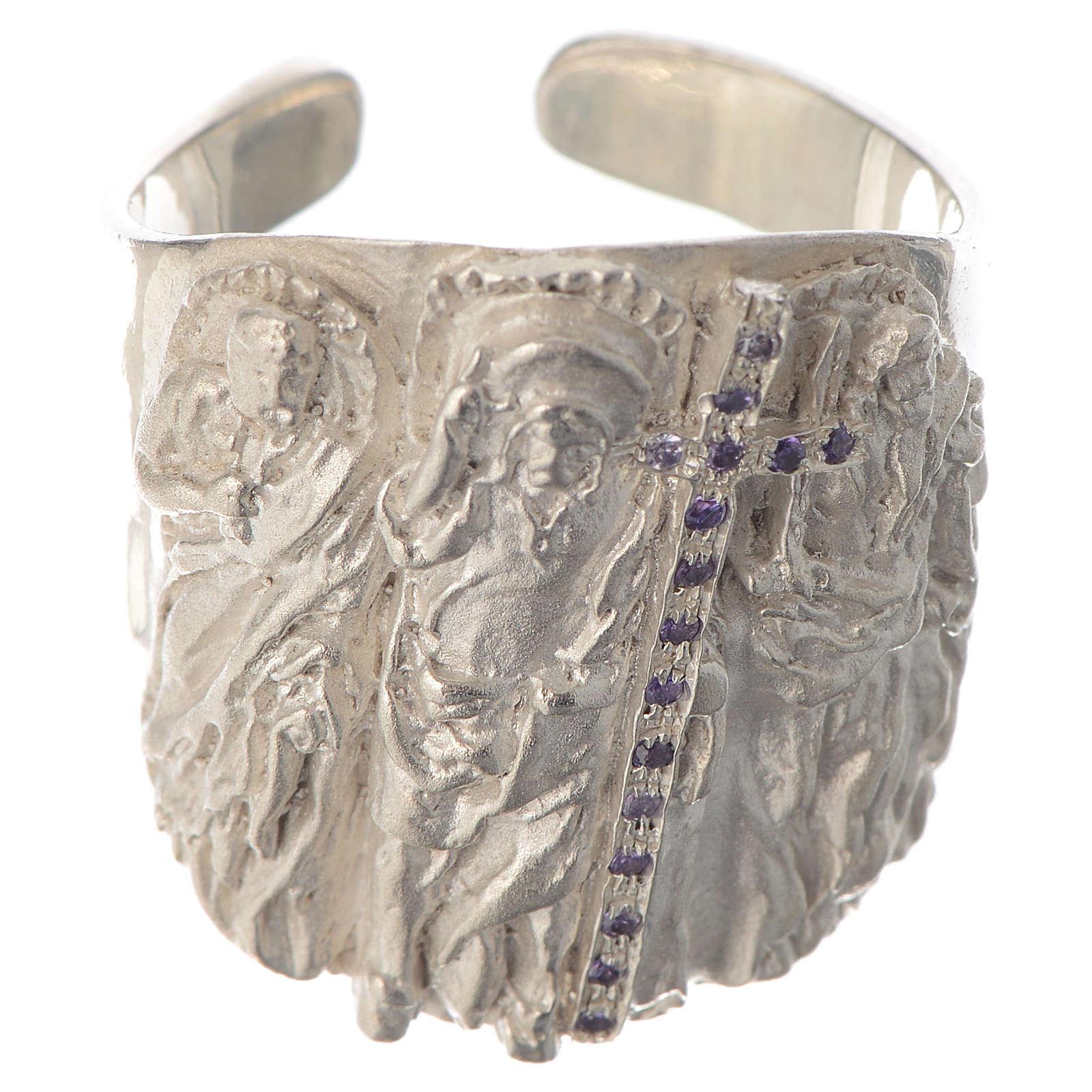 Bishop ring silver 925 and amethyst Jesus 3