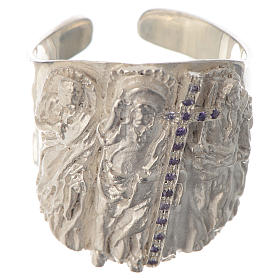 Bishop ring silver 925 and amethyst Jesus s1