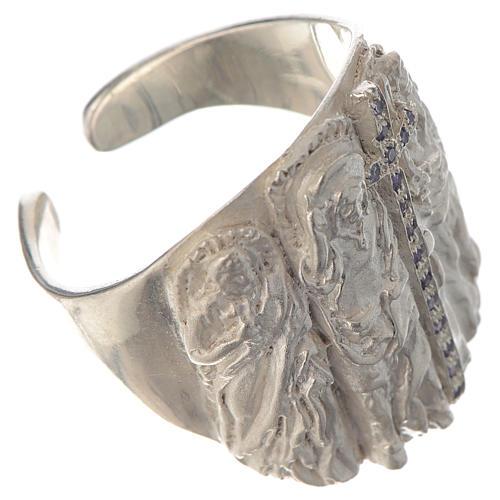 Bishop ring silver 925 and amethyst Jesus 2