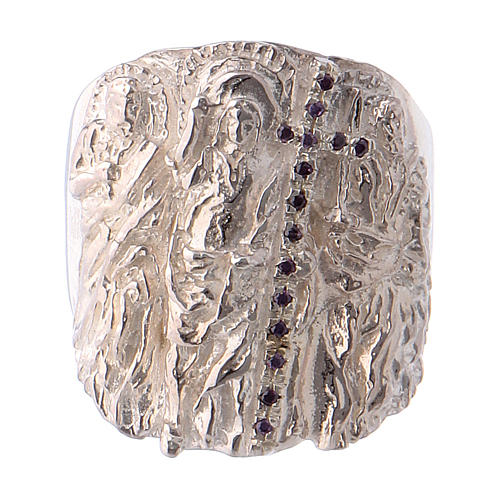 Bishop ring silver 925 and amethyst Jesus 2