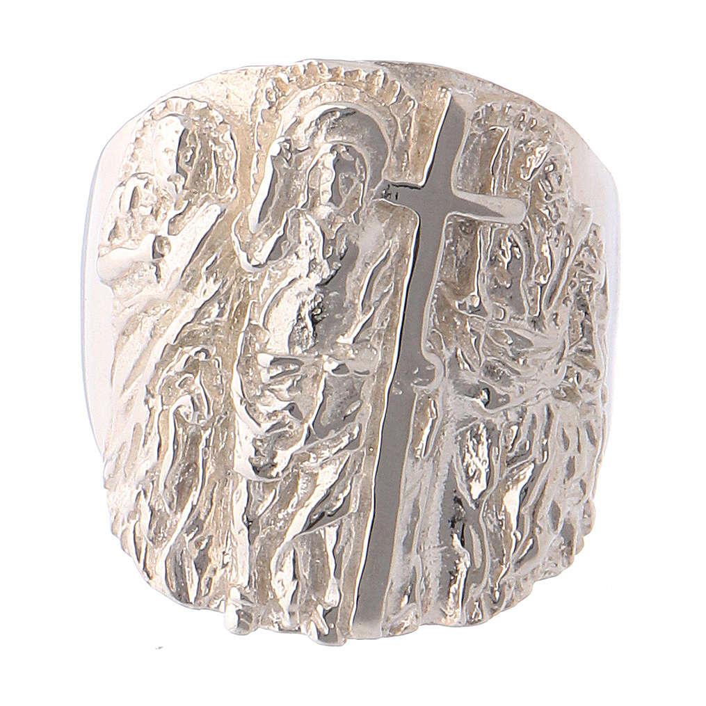 Bague épiscopale argent 925 Jésus, Saint Paul et Saint Pierre 3