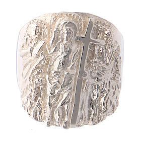 Bague épiscopale argent 925 Jésus, Saint Paul et Saint Pierre s2