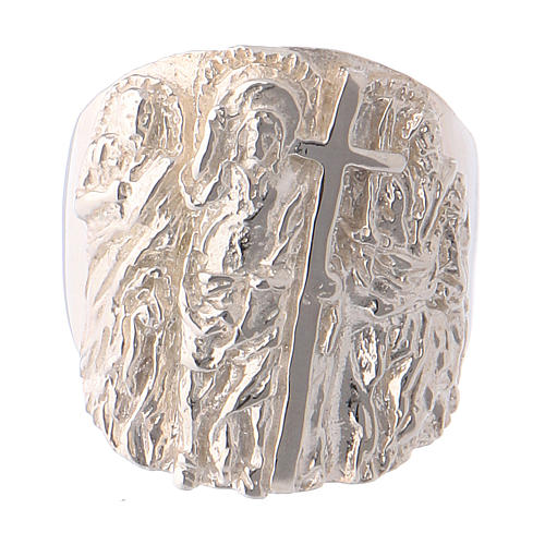 Bague épiscopale argent 925 Jésus, Saint Paul et Saint Pierre 2
