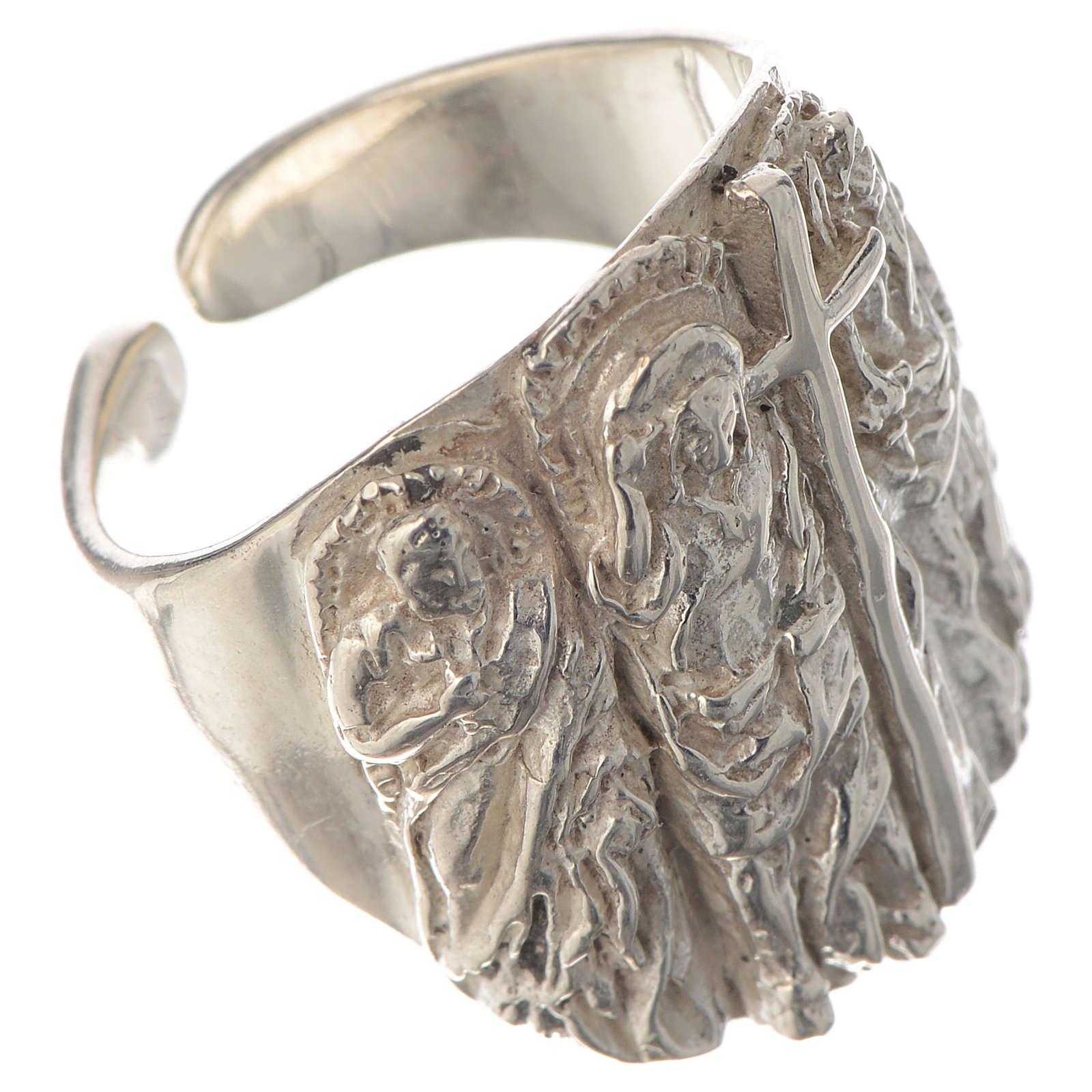 Anello vescovile argento 925 Gesù 3