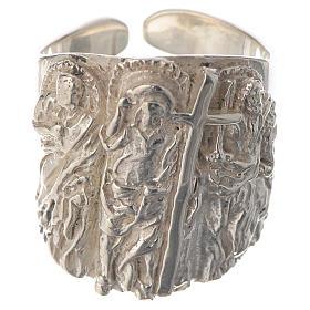 Anello vescovile argento 925 Gesù s1