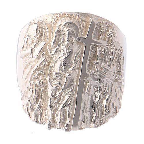 Anello vescovile argento 925 Gesù SS. Pietro e Paolo 2