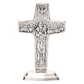 Crucifijos de mesa: Cruz Buen Pastor Papa Francisco con Base
