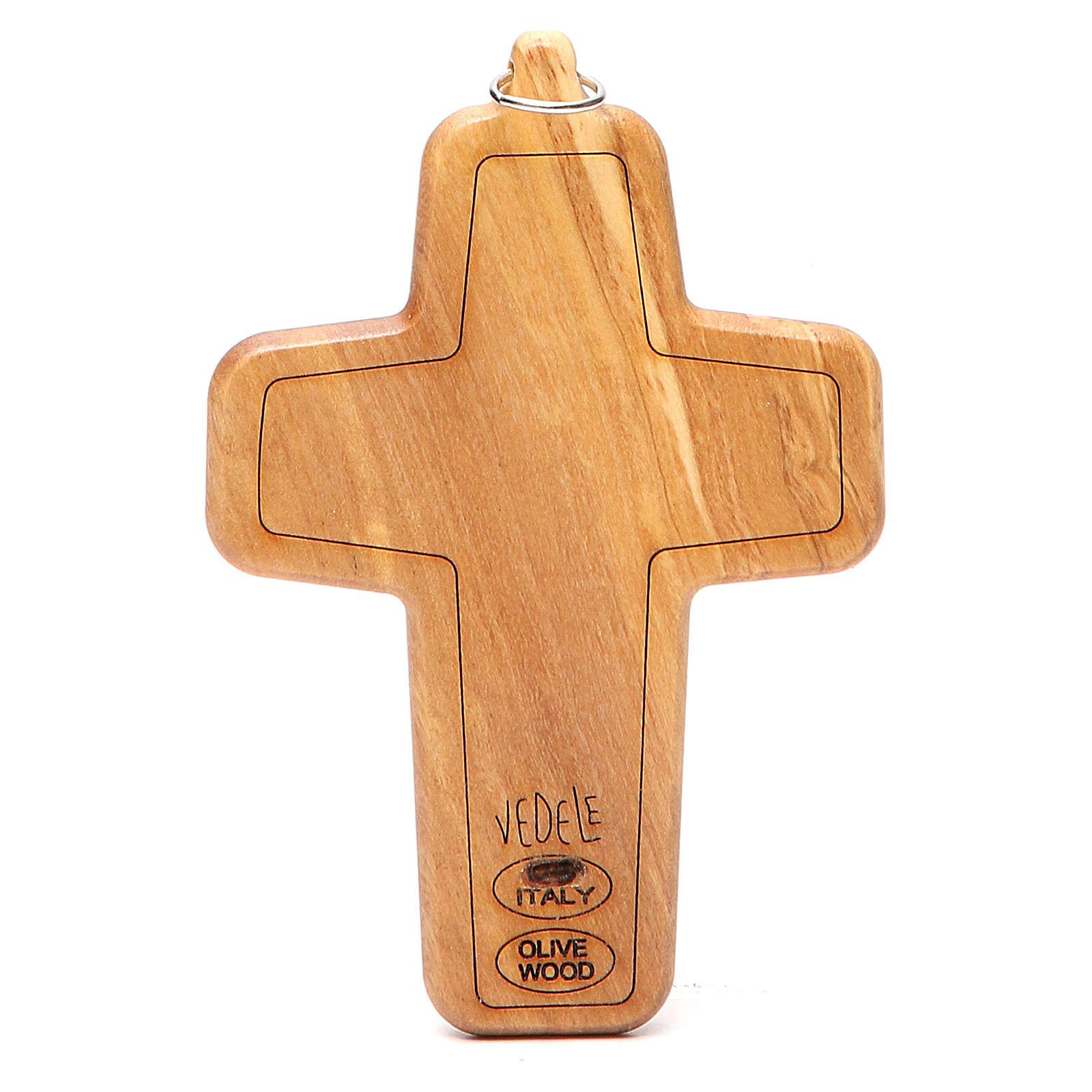 Cruz pectoral metal madera olivo 12 x 8,5 cm 3