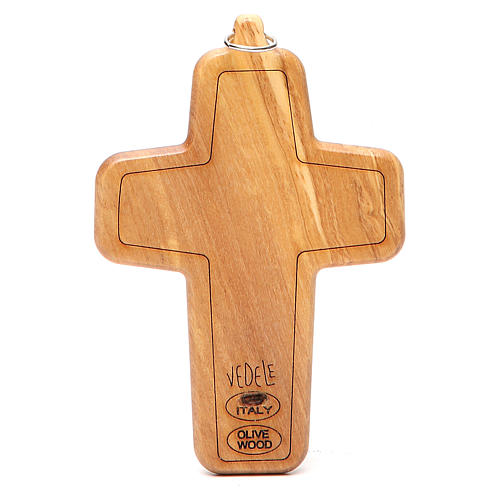 Cruz pectoral metal madera olivo 12 x 8,5 cm 2