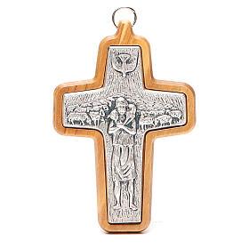 Attributs épiscopaux: Croix pectorale métal bois olivier 12x8,5 cm