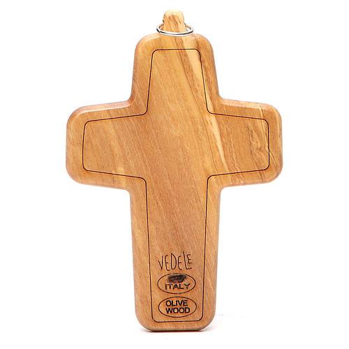 Croce pettorale metallo legno ulivo 12x8,5 cm 2