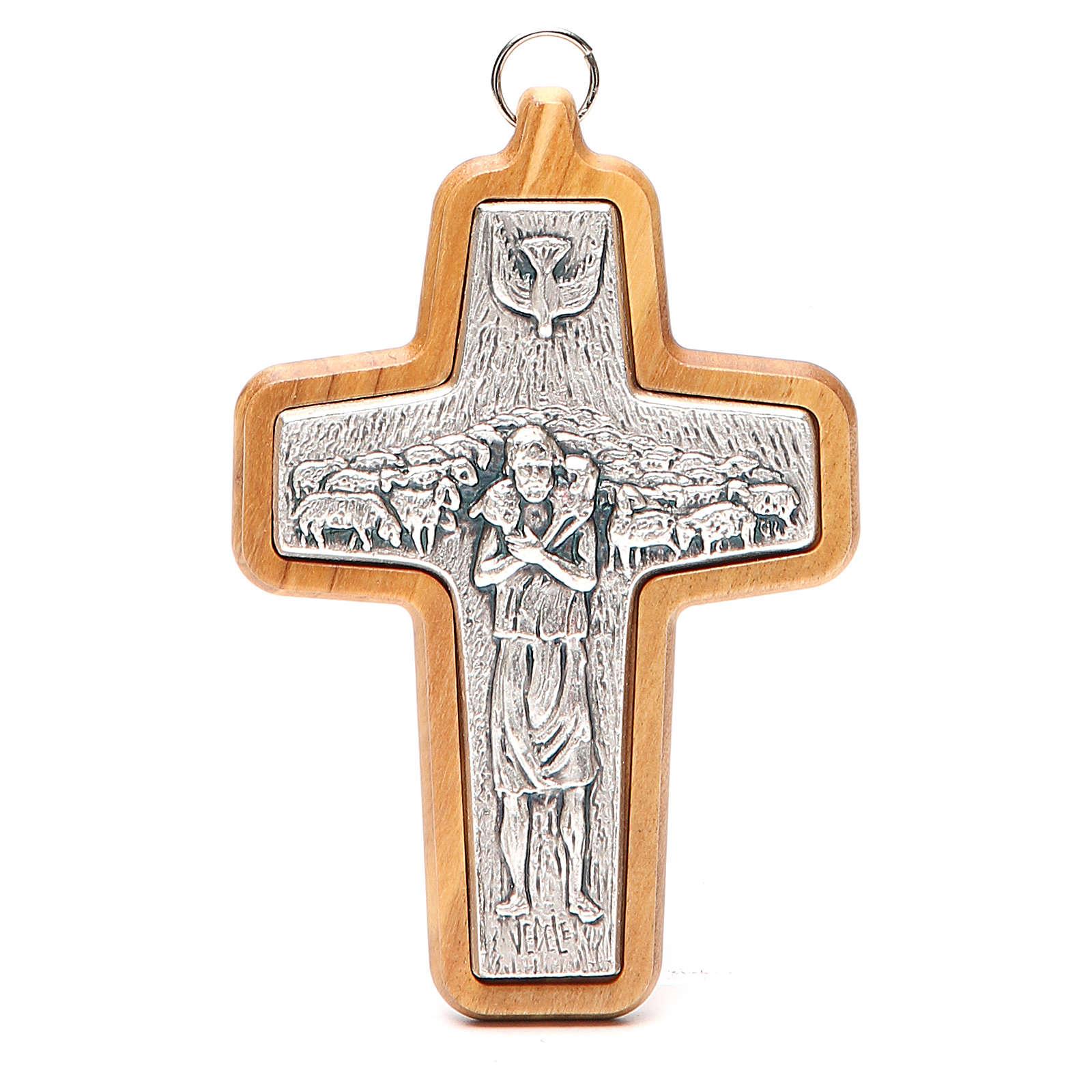 Krzyż pektoralny metal drewno oliwne 12x8.5 cm 3